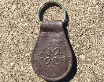 1970's Vintage Leather Key Ring / Vintage Leather Key Chain - Brown Leather and Brass Ring -