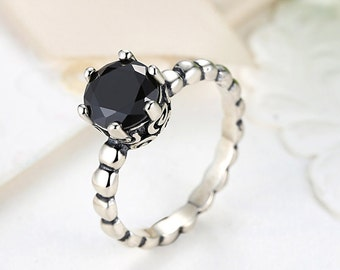 925 Sterling Silver Ring with Black Cubic Zirconia, Fashion Ring, CZ Ring, 6-Prong Solitaire Ring, Black Stone Ring, DIY Silver Jewelry