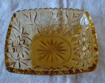 Vintage Amber Glass Dish- Free shipping on this piece!