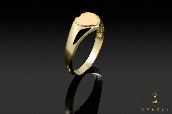 14k Solid Yellow Gold Womens Love Heart Uverly Ring