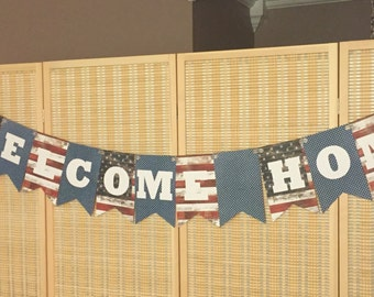 Patriotic fabric banner patriotic bunting 4th of july for Patriotic welcome home decorations