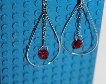 Lego Teardrop, Dangle Earrings Red