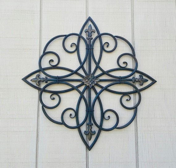 Wrought Iron Wall Decor Flowers : Large metal wall art wrought iron decor scrolled