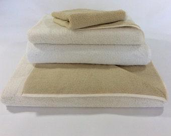 Eponj Khaki Ivory Turkish Bath Towels