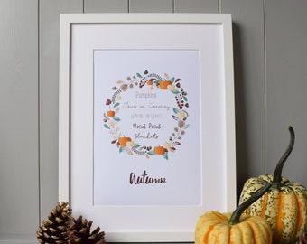 Autumn Fun Print Wall Art (A4) - Fall Season Decor Gift