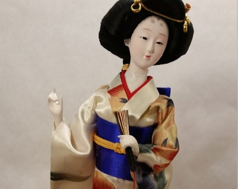 "Vintage Japanese Geisha Doll 12"" with Stand"