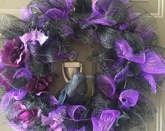 Black and Purple Halloween Wreath, purple rose wreath, raven wreath, purple bat, fun Halloween wreath, purple and black mesh