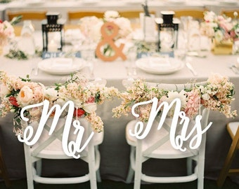 Wedding Decor.Mr and Mrs  Chair Signs.