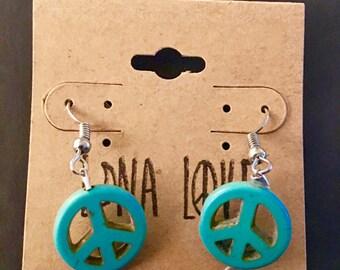 Teal Peace Earrings