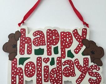 Bear Happy Holidays, Christmas, Holiday Decor, Home Decor, Tole Painting, Decorative Painting