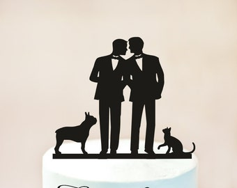 Gay Wedding cake topper with cat + dog, gay silhouette for men, gay cake topper,Gay with cat + dog,dog + cat silhouette cake topper (1020)