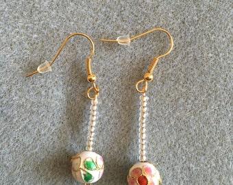 white cloisonné long drop earrings