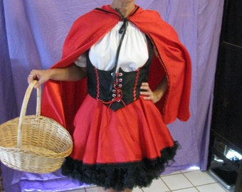 Red Riding hood costume-5 pieces-petticoat, skirt, vest, blouse, cape