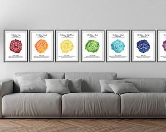 7 PACK Chakra Prints, A4 & A3, 7 Chakras, Chakra Printable Art, Chakra Meditation, Yoga Mediation, Watercolour, Instant Download
