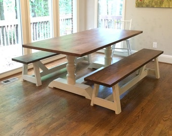 Farmhouse Table | Dining Table | Solid Wood Table | Harvest Pedestal Table