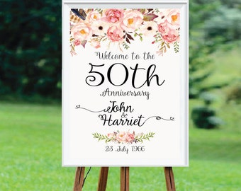 50th anniversary poster, 50th anniversary sign, Anniversary Sign Printable, 50th Anniversary decoration - US_WS0103a