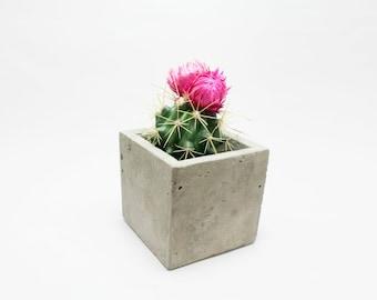 Concrete mini planter - rectangular - Gray Cement
