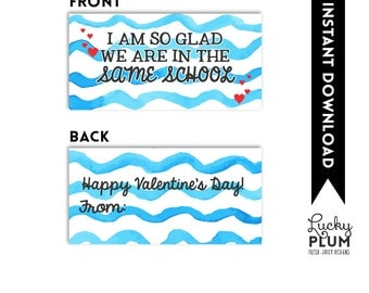 Goldfish Valentine Printable / Valentine Printable / Goldfish Valentine Tag / Goldfish Treat Bag Topper / Glad We Are In The Same School