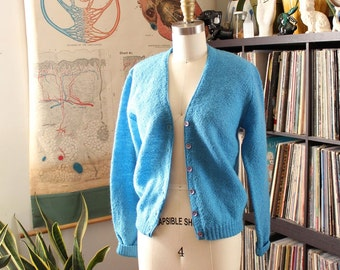 vintage Evan Picone mohair cardigan, xs small v-neck cardigan, nubby wool slate blue cardigan, beatnik hipster sweater designer vintage