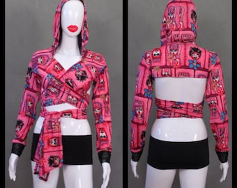 MADE TO ORDER Pink cartoon faces Stretch Hoodie Wrap