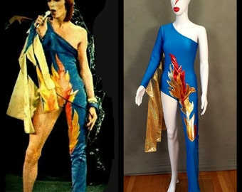 MADE TO ORDER Limited Edition David Bowie/ Ziggy Stardust Inspired One Shoulder-One Leg Bodysuit Flame Costume