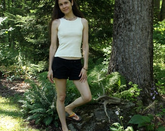 womens organic hemp tank top - high neck - tight fit - 100% hemp and organic cotton - custom made