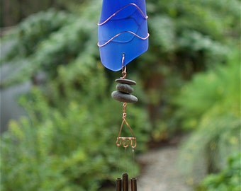 Wind Chime Cobalt Blue Stained Glass Sun Catcher with Brass Chimes sea glass beach glass windchimes