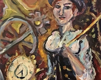Mistress of Time maroon,gold,violet, white and black steampunk acrylic painting
