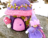 Fairy cottage  Wool Fairy house with fairy doll Waldorf ready to ship