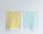 Raindrops Organic Screen Printed Fabric Fat Quarter - white organic quilting cotton, sea foam blue or mustard ink