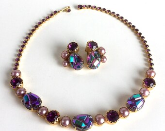 Vintage Purple Schiaparelli Necklace Earrings Demi Parure Set, AB Molded Glass, Violet Faceted Rhinestones, Pink Pearls, Signed Gold Setting