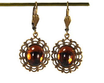 Vintage Inspired Earrings with Lace Filigree Framed Dark Madeira Topaz Glass Cabochons in Antiqued Brass Simple Design Prong Set