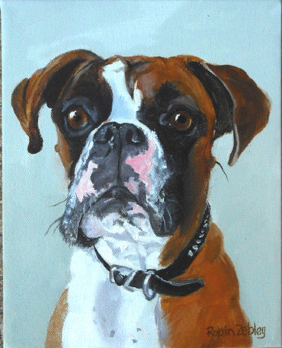 "Large Custom Pet Portraits, Oil Painting by me, artist Robin Zebley, Custom Portrait Art, Boxer or any breed, 18"" x 24"""