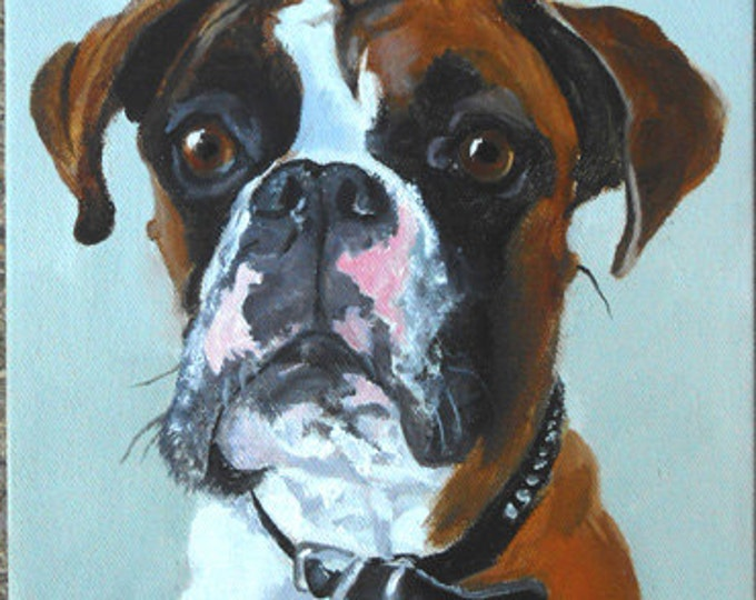"""Large Custom Pet Portraits, Oil Painting by me, etsy artist Robin Zebley, Custom Portrait Art, Boxer or any breed, 18"""" x 24"""""""