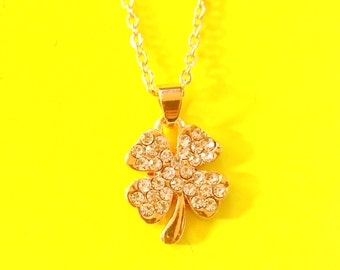 Four Leaf Clover Lucky Charm Gold and Rhinestones Pendant Necklace