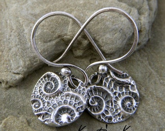 Nautical Sea Pod PMC Recycled Fine Silver Artisan Textured Circle Earrings SRAJD