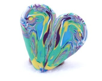 Heart Shaped Brooch - Polymer Clay Art Jewelry - 1.5 inches
