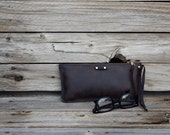 Accessory Pouch / Hand Stitched Leather / Leather Clutch / Pencil case / Zipper Clutch / Large Wallet / Feral Empire