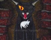 Edgar Allen Poe Black Cat Gothic Cat Painting Black Cat Art E A Poe Horror One Eyed Cat Big Eye Dark Cat Art Print 8x10 Cat Lovers