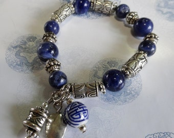 Navy Blue Sodalite and Silver-toned Bead Charm Bracelet