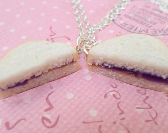 BFF PBJ: Best Friend Peanut Butter Jelly Necklace Set, Best Friend Necklaces, Food Jewelry, Polymer Clay Food Necklace
