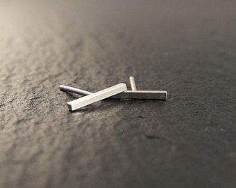 Earrings - Small Rectangular Staple Bar Posts in Sterling Silver - Handmade in Seattle