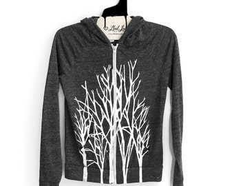 Large- Charcoal Gray Hooded Zip Up Lightweight Hoodie with Branches Screen Print