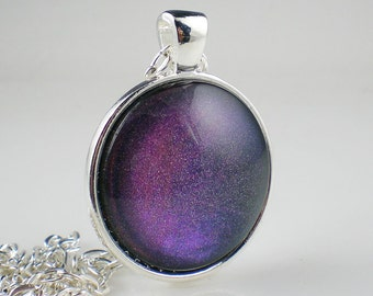 Violet Blue Fuchsia Holographic Nail Polish Necklace Jewelry