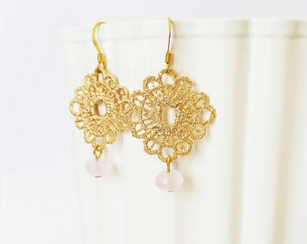 Rose Quartz Earrings, Bridesmaid earrings, Gold Lace Crocheted Earrings, Boho Chic Gemstone Earrings, Wedding jewelry, Bridesmaid gifts