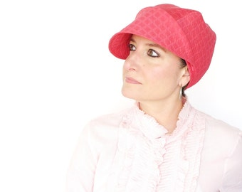 Pink cotton cloche, womens spring hat, asymmetrical brim, modern millinery, ladies madcap, soft fabric hat, sewn casual cloche : Capricious