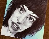 Happy in Blue - Original Drawing