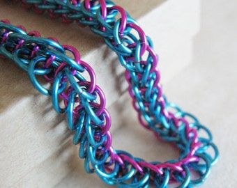 Blue and Fuchsia Pink Chainmaille Bracelet Half Persian Chain Link Jewelry for Women