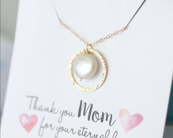 Mother of the Bride Gift, Mother's Necklace, Mother of the Groom Gift, GOLD Eternity Necklace, Circle Pendant, Pearl Necklace,  Gift for MOM