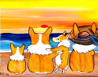 Pembroke Welsh Corgi Dog Art Painting ~ Corgi Art ~ Dog Lover Gift ~ Beach Art Summer Corgi ~ Sunset Beach~  Dog Painting ~ Nursery Decor